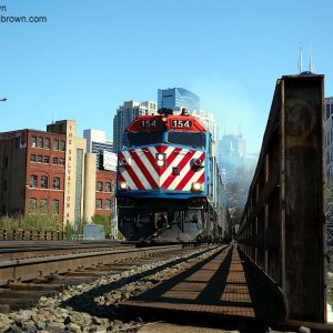 Metra F40PH 154 heading out on the CNW Harvard Subdivision