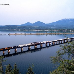 BNSF intermodal crosses Lake Pend Oreille