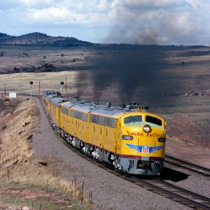 Union Pacific E9's on Sherman Hill near Tie Siding, Wyoming - April 23, 1994.