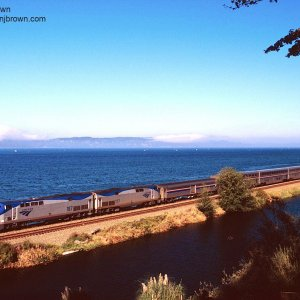 Amtrak Empire Builder #7 along Puget Sound in Edmonds, Washington