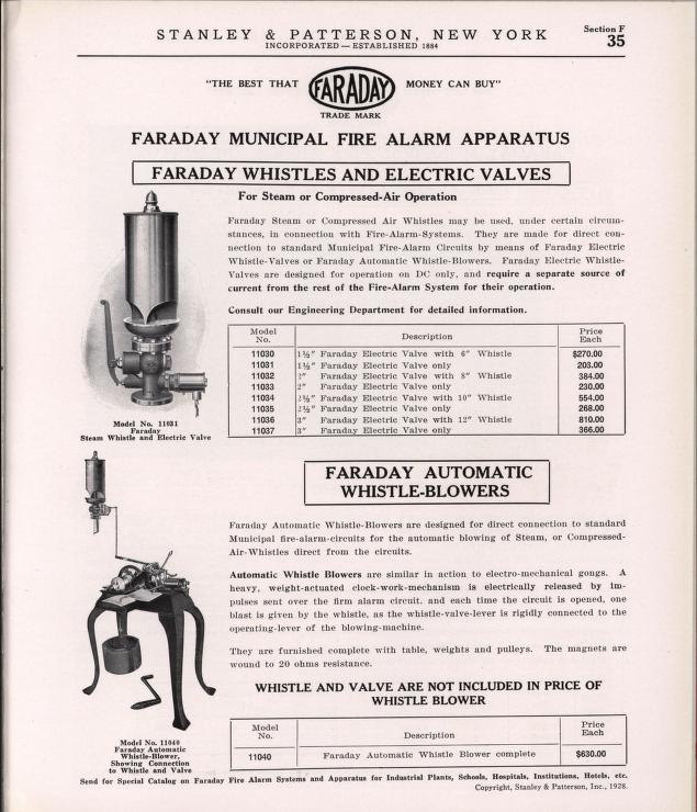 Fire Alarm Systems And Apparatus faraday whistles 1930.jpg